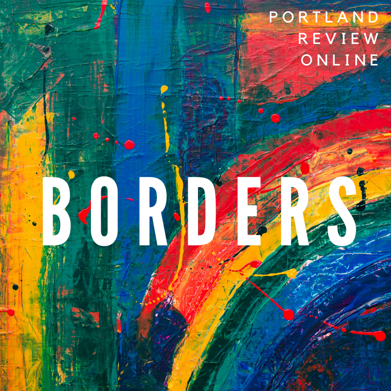Portland Review Online, Borders Theme finger-painted rainbow