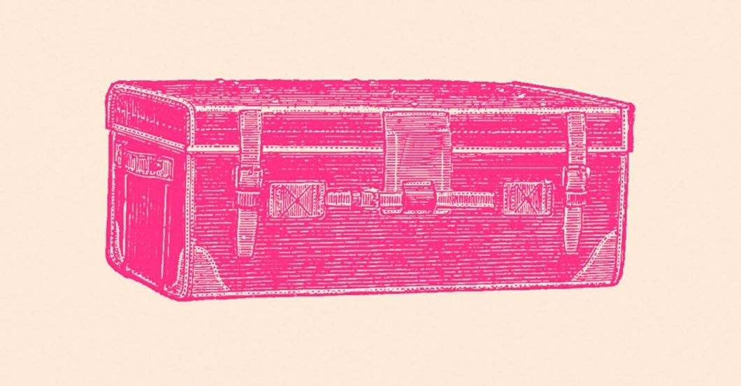 image of vintage traveling trunk