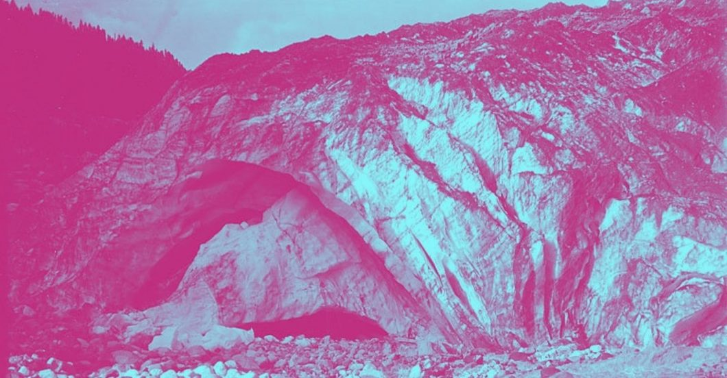 image from 1907 of ice cave in a glacier
