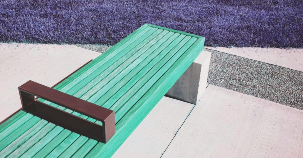 contemporary bench with anti-sleeping bar