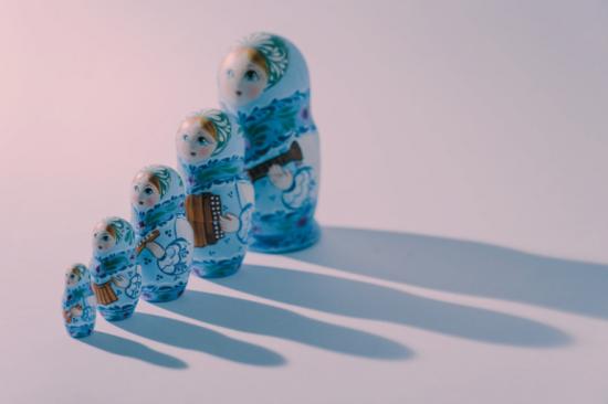 Five nesting dolls