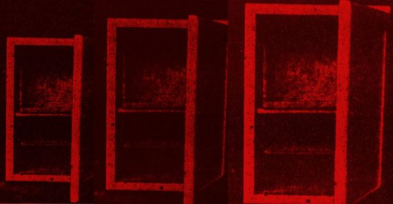 A series of three copies of the same 1917 icebox with door ajar, all shaded red. From left to right, each successive icebox is larger than the last.